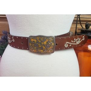 Leather Embroidered Studded Belt Floral Buckle XXL